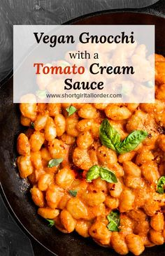 The BEST Vegan gnocchi tomato cream sauce recipe! This creamy gnocchi sauce is healthy & so easy to make with only 6 ingredients. Making a dairy-free & glu Vegan Dinner Recipes, Vegan Dinners, Dairy Free Recipes, Whole Food Recipes, Cooking Recipes, Dairy Free Gnocchi Recipes, Recipes With Gnocchi, Healthy Gnocchi Recipes, Vegan Gnocchi Recipe