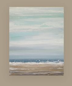 This is an original one of a kind painting by Ora Birenbaum.  I used very soft shades of dusty blues with white and cream that melt into shades of taupes, tan, and soft grays with touches of white and cream.  TITLE: Blue Sky 2 DIMENSIONS: 24x30x1.5 MEDIUM: Acrylics on Gallery Canvas  This painting has lots of texture. Sides will be finished and will arrive signed, sealed, and wired for easy display.  ROOM VIEWS MAY NOT BE TO SCALE.   All of my paintings are finished with a matte finish…
