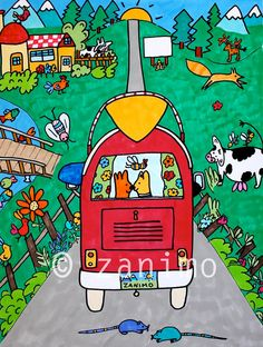 Gofrette and Blue hit the road going on a fishing trip  by Zanimo, $20.00