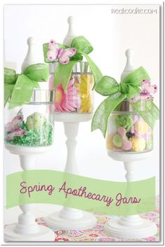 I love apothecary jars! They are so fun to fill throughout the year. These are some great ideas for my spring home decor.