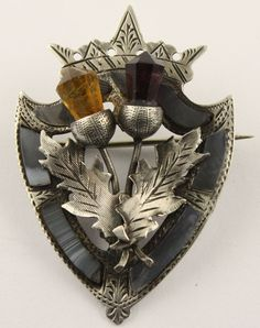 Big Antique Victorian Sterling Silver Scottish Agate Luckenbooth Brooch