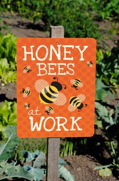 """Gift for beekeepers! Honey Bees At Work Sign 9"""" X 12"""" (tangerine) SKU: SN912538 by BainbridgeMercantile on Etsy https://www.etsy.com/listing/228927977/honey-bees-at-work-sign-9-x-12-tangerine"""