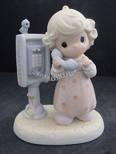 "Precious Moments ""Lord Please Don'T Put Me on Hold"" Precious Moments Figurines, Clay Dolls, My Precious, Polymers, Little People, Piggy Bank, Girly Things, Coloring Pages, Biscuits"