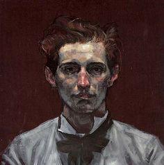 Craig Hanna, Portrait of Simon, huile sur bois, 53x53cm