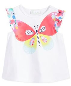 First Impressions Baby Girls' Flutter-Sleeve Butterfly T-Shirt, Only at Macy's