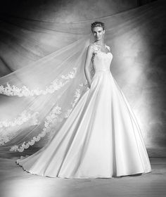 Verila, robe de mariée en dentelle, décolleté en cœur, style classique