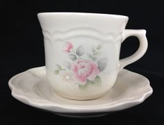 Tea Rose by Pfaltzgraff - Flat Cup & Saucer Set - Floral / Pink Rose Coffee Tea Cup and Saucer - Collectible - R2015-82