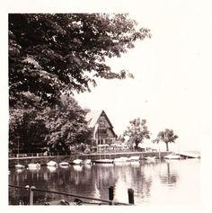 "Vintage 1960s B&W Photo Chalet On Lake Boats St. Moritz Switzerland 3.5"" x 3.5"""