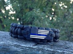 American Flag Bracelet Thin Blue Line Paracord Rope Bracelet