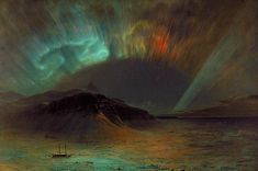 Aurora Borealis by Frederic Edwin Church (1865). Inspired by the Great Auroral Storm of 1859 which interestingly enough put enough electricity into the air to solar-power telegraph lines for a number of hours (note: they were designed to operate with batteries _only_).