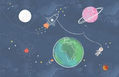 Checkout our cute kids space rocket wallpaper. Create the ultimate space themed kids room with this charming kids space rocket mural. Space Themed Wallpaper, World Map Wallpaper, Bedroom Wallpaper, Rocket Wallpaper, Bedroom Themes, Girls Bedroom, Space Rocket, Ideias Diy, Watercolor Design