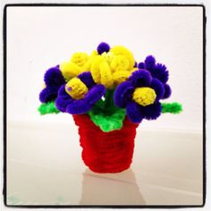 more pipe cleaner flower pot variations