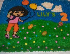 Dora egg hunt birthday cake