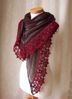 Gorgeous crochet border on an elegantly simply knitted shawl.