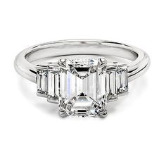 Platinum Emerald Cut Diamond Ring with Double Diamond Baguettes from Ivanka Trump Collection