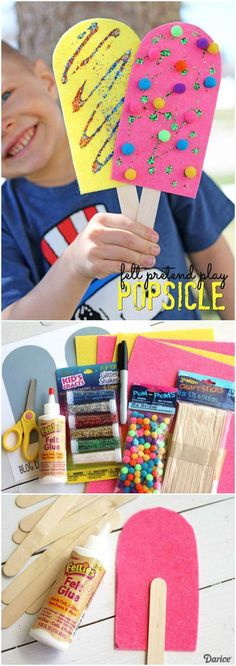 Popsicle Craft for Pretend Play Darice is part of Summer crafts For Kids - This pretend play felt popsicle craft is a fun summer themed craft idea that is not only calorie free and fun for all ages but it's also super simple! Popsicle Crafts, Fun Diy Crafts, Camping Crafts, Kids Crafts, Popsicle Party, Craft Projects, Stick Crafts, Craft Tutorials, Holiday Crafts