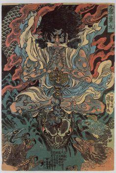 Utagawa Kuniyoshi Kidô Maru Learning Magic from the Tengu, ca. 1843 Japanese color woodblock print x cm Egenolf Gallery Japanese Prints (Burbank, CA) Japanese Artwork, Japanese Painting, Japanese Prints, Japanese Poster, Japan Illustration, Grand Art, Japanese Mythology, Susanoo, Kuniyoshi