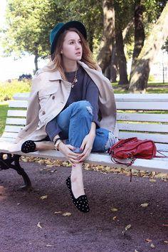 Mango Coat, Forever 21 Hat, Balenciaga Bag, Zara Jeans, Topshop Loafers Forever 21 Hats, Part Time Model, Mango Coats, How To Wear Loafers, Balenciaga Bag, Zara Jeans, Topshop, Hipster, Fashion