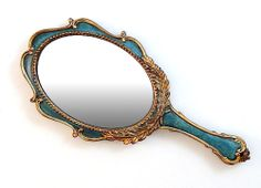 28.99Spruce Green  Gold Hand Held Vanity Mirror Wall Hanging Vintage Antique…