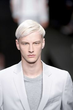 ///Beautiful grey colored hair paired with the grey shirt and suit.   Benjamin Jarvis