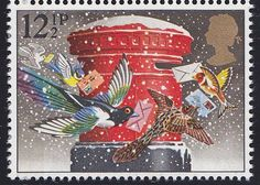 Christmas letter box, British post stamp, 1983