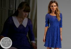 Nan (Jamie Brewer) wears this blue lace skater dress in this week's episode of American Horror Story: Coven | via Tumblr