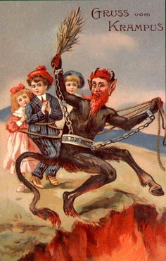 Krampus for those kids who have been naughty and not nice. How to freak out kids decades ago. Kids were made of sterner stuff in the old days it seems they had no worry about traumatizing their children.