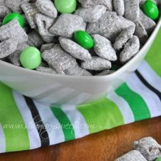 Thin Mint Puppy Chow. For st pattys day! change to pink for kayln's birthday party