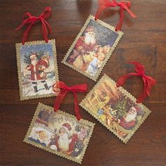Old World Santa Claus Postcard Ornaments - Set of 4 -  Price : $17.95 http://www.perfectlyfestive.com/RAZ-Imports-World-Postcard-Ornaments/dp/B00CXHKNBE