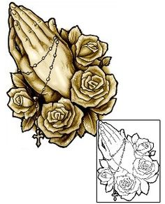 This Rose tattoo design from our Plant Life tattoo category was created by Jackie Rabbit. This design includes a printable full size color reference, and exact matching stencil. Tattoo Johnny is the number one supplier of tattoo designs around the world. Hand Tattoos For Women, Tattoos For Guys, Praying Hands Drawing, Hands Praying, Prayer Hands Tattoo, Hammer Tattoo, Retro Tattoos, Religious Tattoos, Cover Up Tattoos