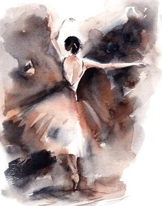 Original Watercolor Painting, Ballerina Painting, Watercolor Art, Dance Painting by CanotStop on Etsy Ballerina Kunst, Ballerina Painting, Art Ballet, Ballet Dance, Wall Art Prints, Fine Art Prints, Dance Paintings, Dance Art, Watercolour Painting
