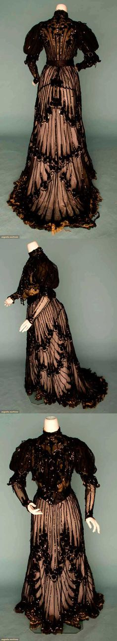 1905 - Two-Piece Chocolate Colored Silk Dress, Velvet Dot Appliques, Chenille Embroidery, Black Sequin Trim