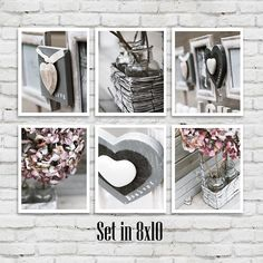 Bathroom Decor Wall Art Set Of 6 Photographs Bathroom Art Set White Grey Heart Vintage Shabby Chic Bathroom Art Bath Wall Decor Set