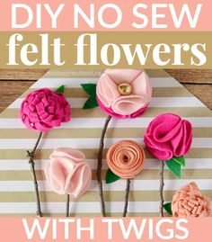These DIY NO SEW FELT FLOWERS are the perfect homemade Mother& Day gift - and the best part is, is that they& never wilt or die! Felt Flowers, Diy Flowers, Fabric Flowers, Paper Flowers, Felt Diy, Felt Crafts, Fabric Crafts, Diy Crafts, Doilies Crafts