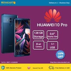 Huawei Mate 10 Pro, 4G, Dual Sim, 128GB, Midnight Blue Mobile Phones Online, Dual Sim, Midnight Blue, Uae, Free Gifts, Sims, Corporate Gifts, Mantle
