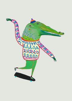 Crocodile Skateboarder Print for Kids Children by AshleyPercival