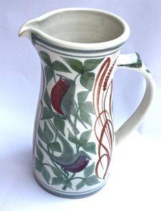 Ceramics Laurence McGowan:Tall straight jug: green/red/orange birds, 2012 Signed with monogram Glazed stoneware height 8 in height cm cm Craig Smith, Orange Bird, Teapots, Hampshire, Ceramic Pottery, Mud, Stoneware, Birds, Studio