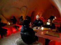 Ice restaurant of Arctic Snow Hotel Rovaniemi in Lapland Finland
