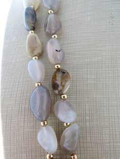 Agate necklace grey stone necklace double strand necklace