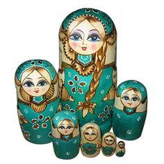 7layers/set 8.46'' Novelty Russian Nesting Wooden Matryoshka Doll Set Hand Painted Decor Russian Nesting Doll Baby Toy Girl Doll(China (Mainland))