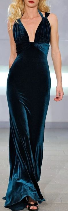 Dark blue dress gown glamour vintage style velvet luxury couture