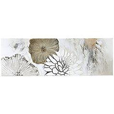 Bild auf Leinwand Motiv Blumen Acryl weiß creme beige 150 x 50 cm