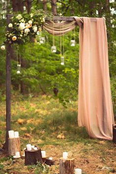 Wedding Outside: Thats what you have to think about when you celebrate in the forest / park! Decoration Solutions Wedding Outside: Thats what you have to think about when you celebrate in the forest / park! Bohemian Wedding Decorations, Wedding Arch Rustic, Wedding Ceremony Arch, Ceremony Decorations, Wedding Altars, Outdoor Ceremony, Outdoor Wedding Arches, Diy Wedding Arbor, Woodland Wedding