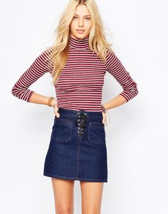 Hollister Stripe Skinny Fit Polo Neck Top