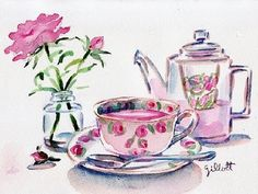 Printemp Paris Rose Teapot, watercolor , x ~ Some people are madly searching for signs of Spring . Watercolor Illustration, Watercolor Paintings, Buch Design, Rose Tea, Tea Art, Print Pictures, Artist Art, Food Art, Painting & Drawing