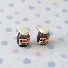 Miniature Food Earrings Nutella by qminishop on Etsy