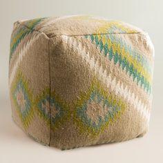 Beige Ebaro Wool Pouf