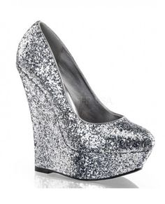 Silver glitter platform wedges