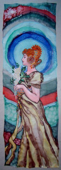 Handpainted Art Nouveau Silk Original batik by taisijasalnikova