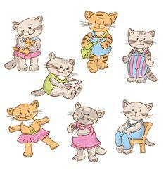 Cartoon kittens vector